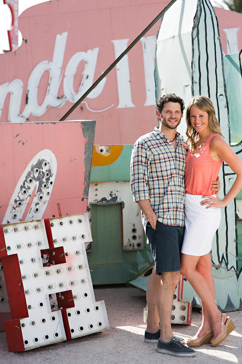 tiffaney and chase vegas neon boneyard engagement photos