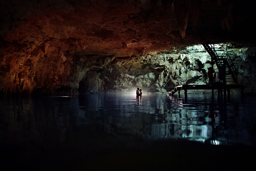 cancun mexico cenote wedding photos, trash the dress images