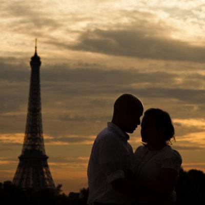 paris france eiffel tower engagement sunset photo