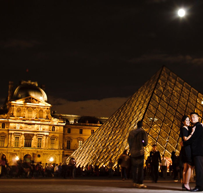 Tiffany and Albert's Nighttime Engagement Photos in Paris