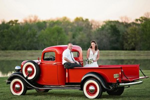vintage ford red truck wedding