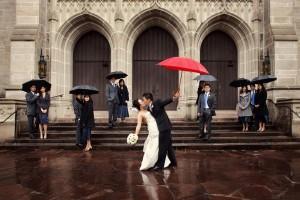 houston wedding party red umbrella