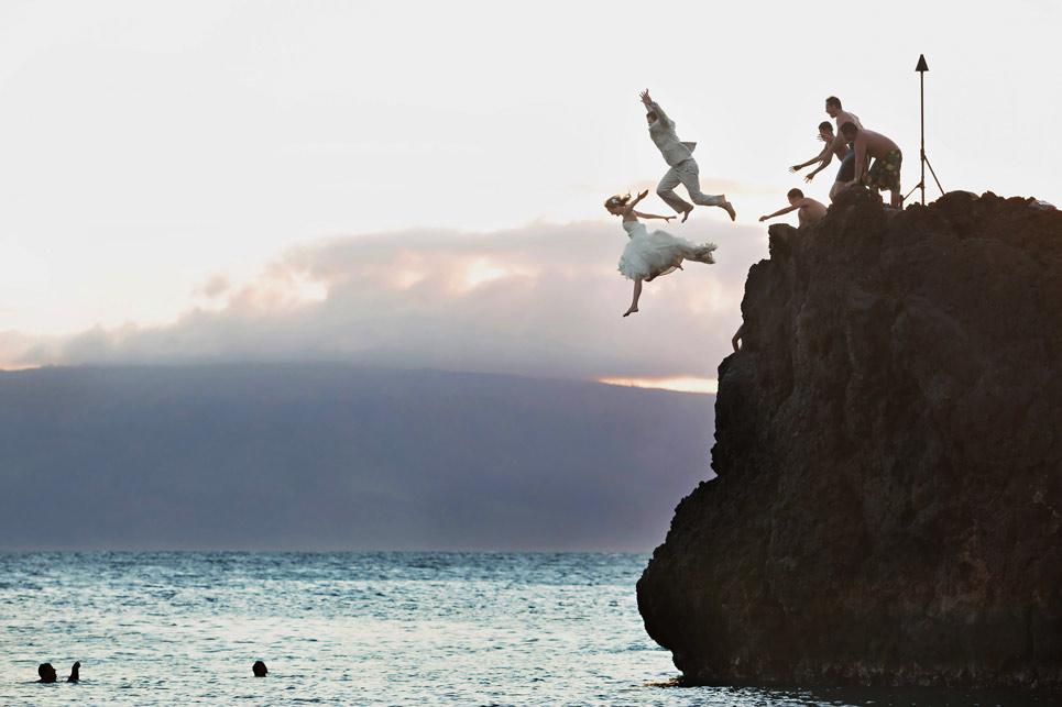 Black Rock Maui Wedding Jump Table4 Weddings