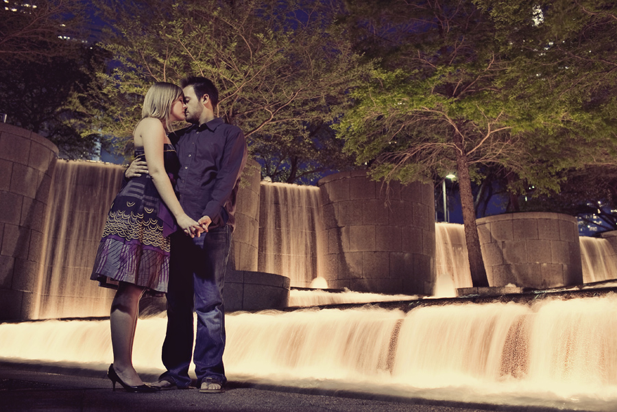 downtown dallas skyline engagement session images, fun engagement pictures in dallas, table4 photography