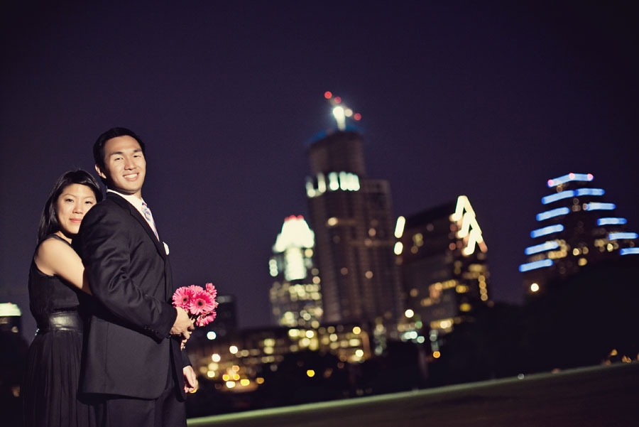 esther and jeff engagement session in austin texas, mueller austin engagement photos, downtown austin texas night time engagement photo