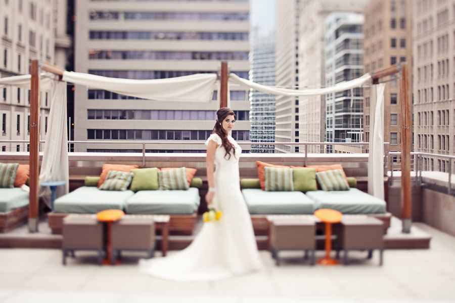 hotel joule rooftop pool wedding photo
