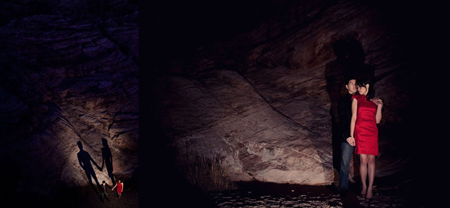 fun drama induced night time engagement images at red rock canyon in las vegas photographed by table4 weddings