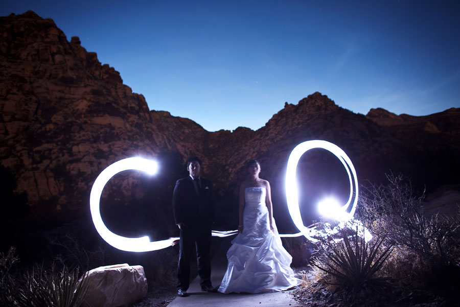 fun, night time wedding shoot at red rock canyon in las vegas by destination wedding photographer table4 weddings