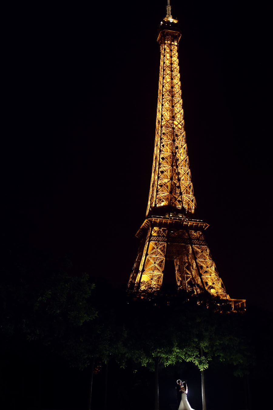 eiffel tower at night wedding image