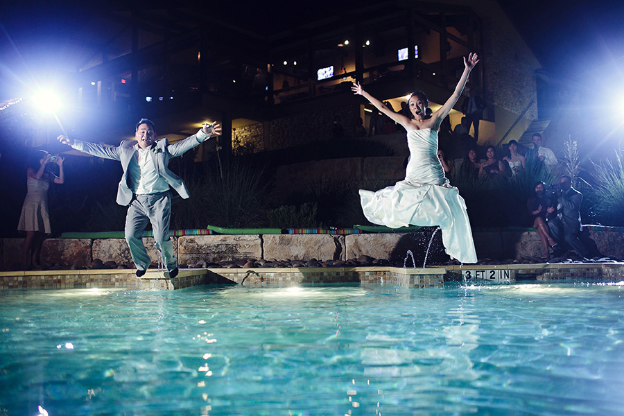 lakeway resort and spa austin texas pool wedding, jumping in the pool