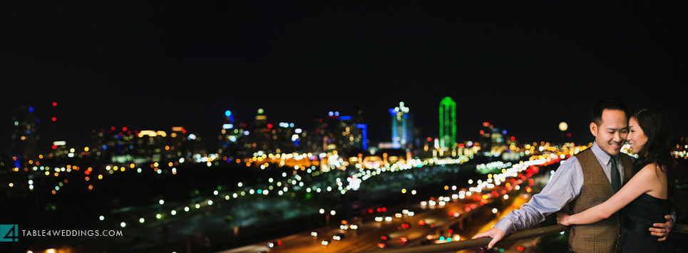 downtown dallas skyline engagement photo