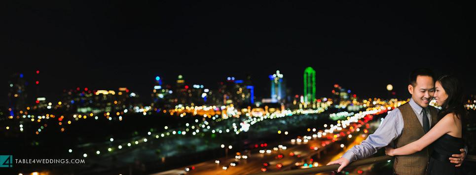 downtown dallas skyline engagement photo