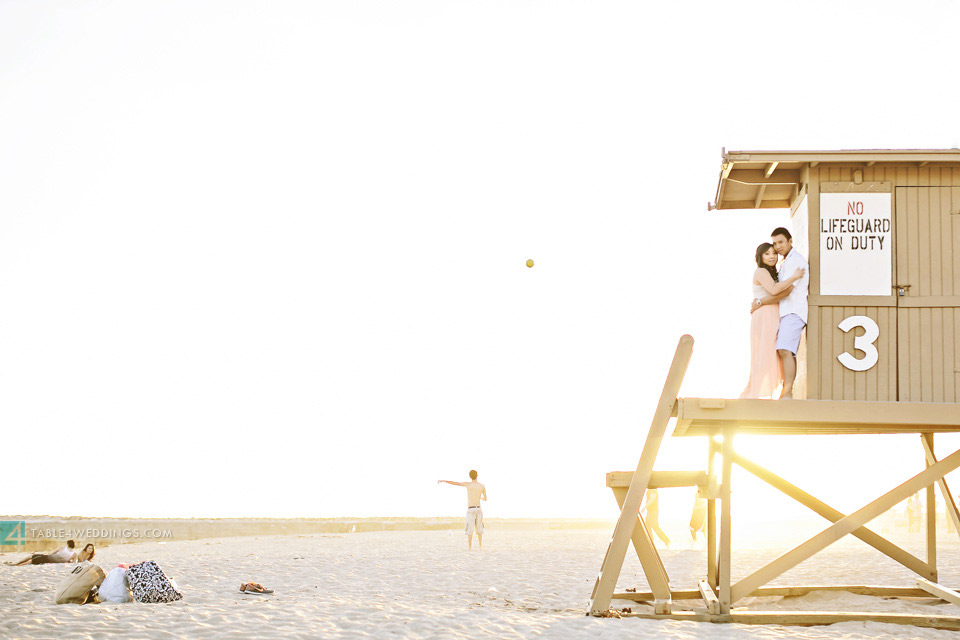 orange county beach life guard tower engagement photography