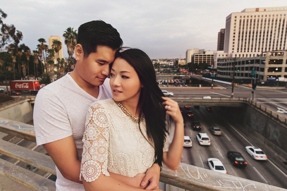 los angeles traffic downtown engagement photo