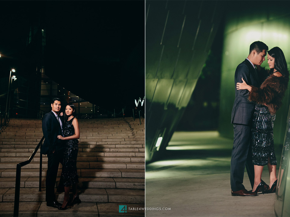 los angeles disney concert hall night time engagement photo