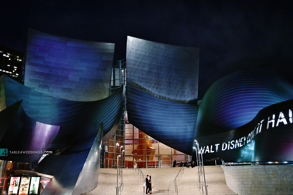 los angeles disney concert hall night time epic engagement photo