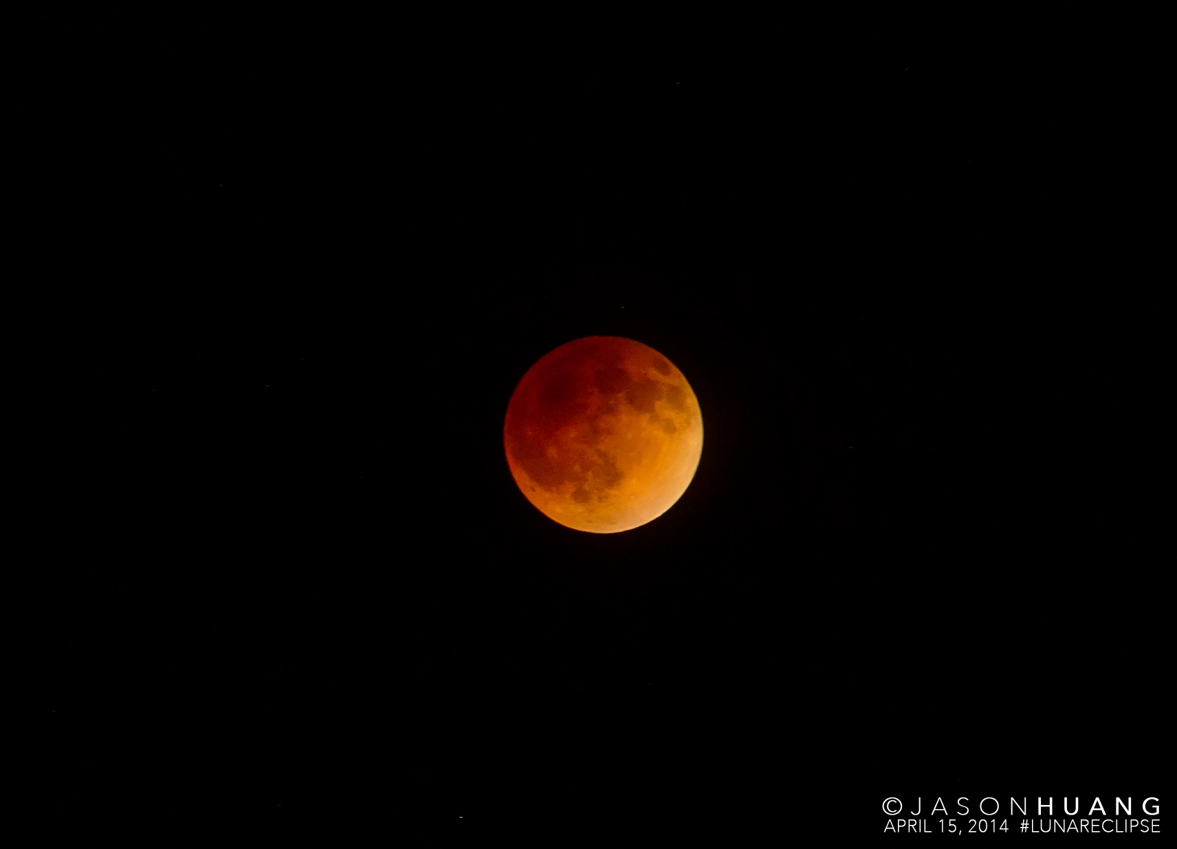 Blood Moon Lunar Eclipse over Orange County, CA on April 15, 2014.