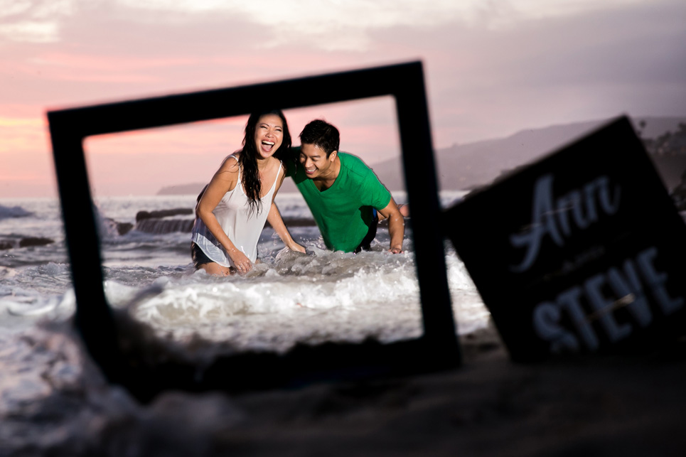 laguna beach sunset waves engagement photo, sexy southern california wedding photographer jason huang