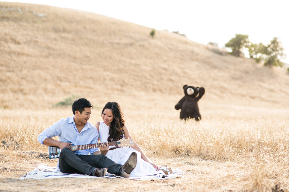 weird riley wilderness park engagement photo, southern california wedding, stuffed bear costco