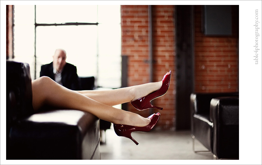 downtown dallas engagement image, red shoes