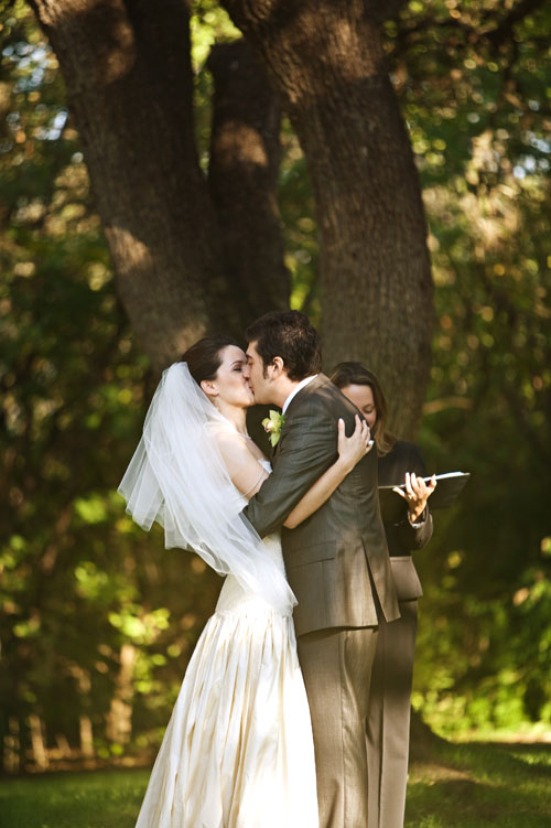 first kiss wedding image at mercury hall in austin tx