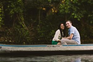 lake austin texas canoe engagement