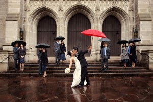 houston wedding party red umbrella